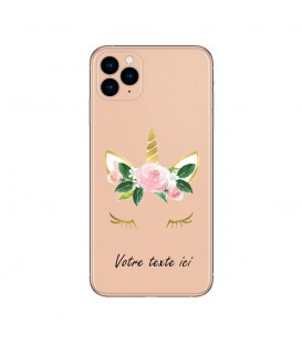 Coque Iphone 11 PRO MAX Licorne personnalisee eyes rose unicorn