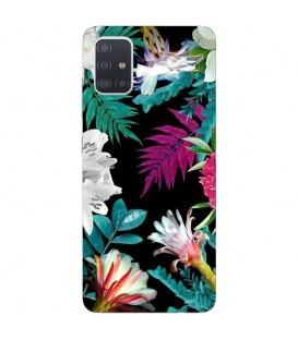 Coque Galaxy NOTE 10 LITE tropical Noir Fleur violet rose
