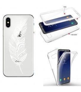 Coque Iphone X XS integrale plumes blanc dreamcatcher transparent