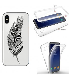 Coque Iphone X XS integrale plumes noir dreamcatcher transparent