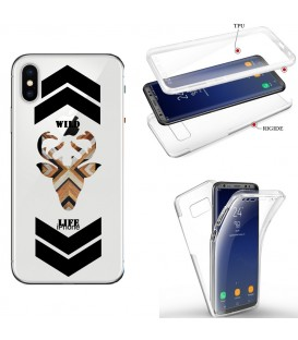 Coque Iphone X XS integrale wild life renne bois