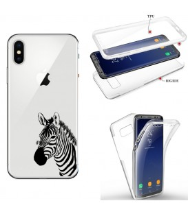 Coque Iphone X XS integrale zebre wild jungle raye transparente