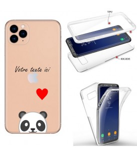 Coque iphone 11 PRO integrale panda emojii coeur personnalisee