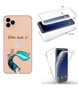 Coque iphone 11 PRO integrale sirene mermaid bleu personnalisee