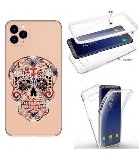 Coque iphone 11 PRO MAX integrale mort mexicaine tartan rouge