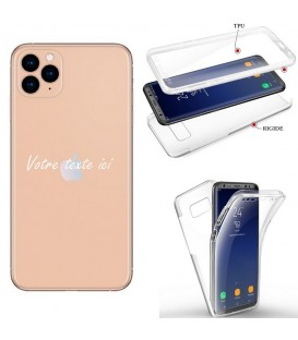 Coque iphone 11 PRO MAX integrale texte blanc personnalisee