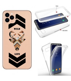 Coque iphone 11 PRO MAX integrale wild life renne bois