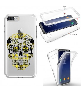 Coque Iphone 6 PLUS integrale mort mexicaine tartan jaune