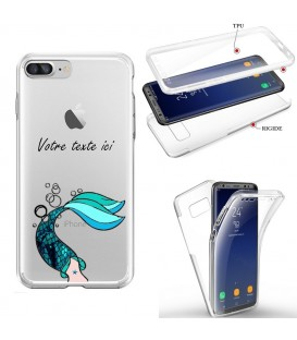 Coque Iphone 6 PLUS integrale sirene mermaid bleu personnalisee