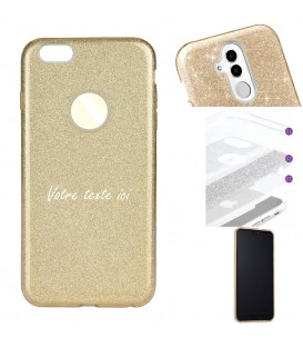 Coque Iphone 7 8 glitter paillettes dore personnalisee texte blanc