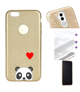 Coque Iphone 7 PLUS 8 PLUS glitter paillettes dore panda emojii