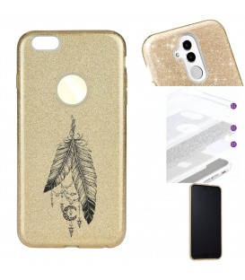 Coque Iphone 7 PLUS 8 PLUS glitter paillettes dore plumes