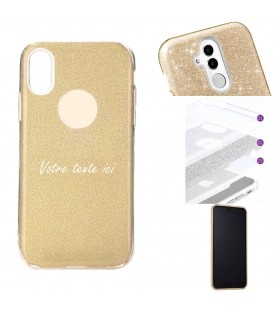 Coque Iphone XR glitter paillettes dore personnalisee texte blanc