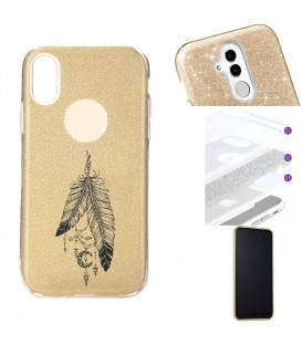 Coque Iphone XR glitter paillettes dore plumes