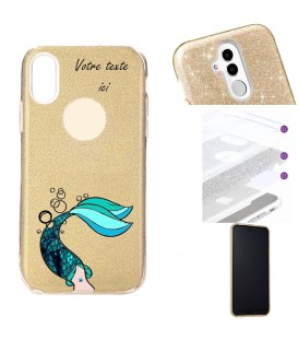 Coque Iphone XR glitter paillettes dore sirene personnalisee