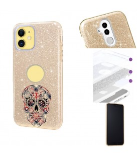 Coque Iphone 11 glitter paillettes dore mort noir mexicaine tartan