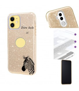 Coque Iphone 11 glitter paillettes dore zebre jungle personnalisee
