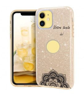 Coque iphone 11 PRO MAX glitter paillettes dore mandala personnalisee