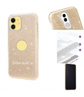 Coque iphone 11 PRO MAX glitter paillettes dore personnalisee texte blanc