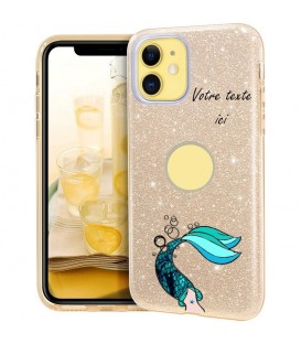 Coque iphone 11 PRO MAX glitter paillettes dore sirene personnalisee