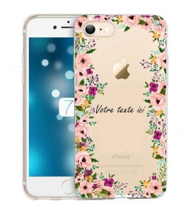 Coque Iphone 7 PLUS 8 PLUS Fleur 14 personnalisee rose transparent