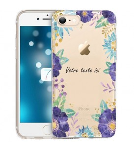 Coque Iphone 7 PLUS 8 PLUS Fleur 15 Violet personnalisee Transparente