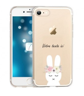 Coque Iphone 7 PLUS 8 PLUS lapin personnalisee fleur kawaii transparente