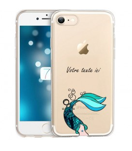 Coque Iphone 7 PLUS 8 PLUS sirene personnalisee bleu transparente