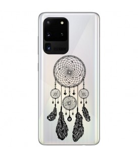 Coque Galaxy S20 ULTRA Dreamcatcher noir plumes reves transparente