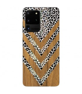 Coque Galaxy S20 ULTRA effet bois leopard camouflage transparente