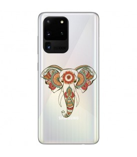 Coque Galaxy S20 ULTRA Elephant henne mandala fleur transparent