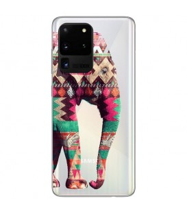 Coque Galaxy S20 ULTRA Elephant rose Aztec indien transparent