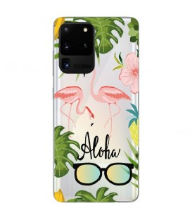 Coque Galaxy S20 ULTRA Flamant Aloha Exotique Tropical transparent