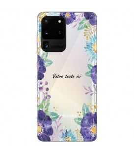 Coque Galaxy S20 ULTRA Fleur 15 Violet personnalisee Transparente