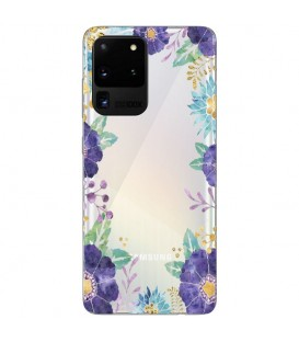 Coque Galaxy S20 ULTRA Fleur 15 Violet Tropical Transparente