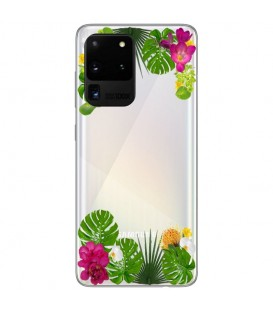 Coque Galaxy S20 ULTRA fleur exotique tropical transparente