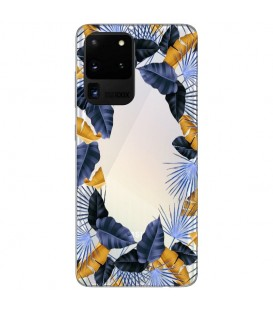 Coque Galaxy S20 ULTRA fleur tropical jaune bleu