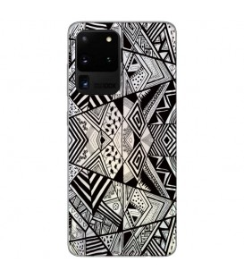 Coque Galaxy S20 ULTRA geometrique noir transparente