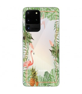 Coque Galaxy S20 ULTRA Tropical day Flamant Ananas summer Exotique fleur