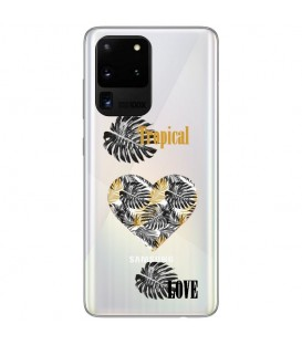 Coque Galaxy S20 ULTRA tropical love coeur transparente