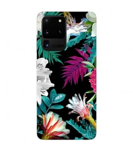 Coque Galaxy S20 ULTRA tropical Noir Fleur violet rose