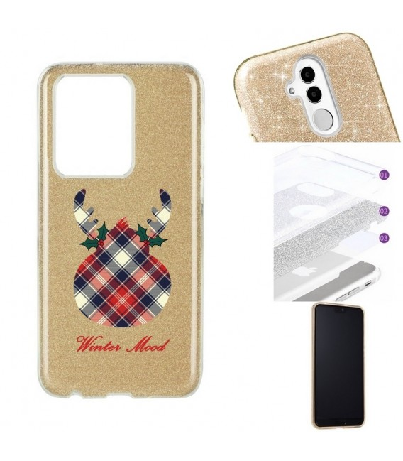 Coque S20 ULTRA glitter paillettes winter mood tartan