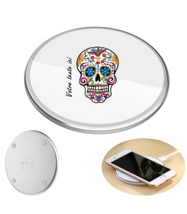 Chargeur a induction personnalise universel 10W blanc mort mexicaine