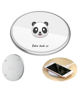 Chargeur a induction personnalise universel 10W blanc panda emojii