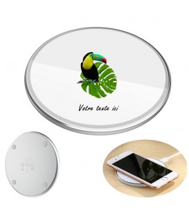 Chargeur a induction personnalise universel 10W blanc perroquet jungle