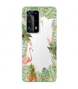 Coque P40 Tropical day Flamant Ananas summer Exotique fleur