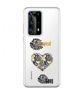 Coque P40 PRO tropical love coeur transparente