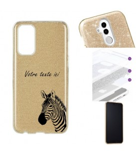 Coque Galaxy A71 glitter paillettes dore zebre jungle personnalisee