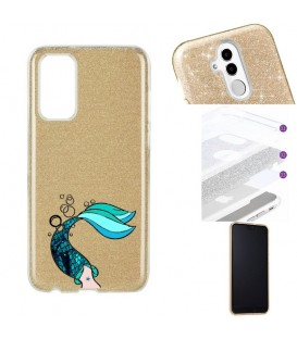 Coque S20 PLUS glitter paillettes dore sirene mermaid bleu