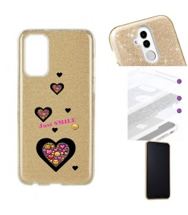 Coque S20 PLUS glitter paillettes dore smiley coeur emojii